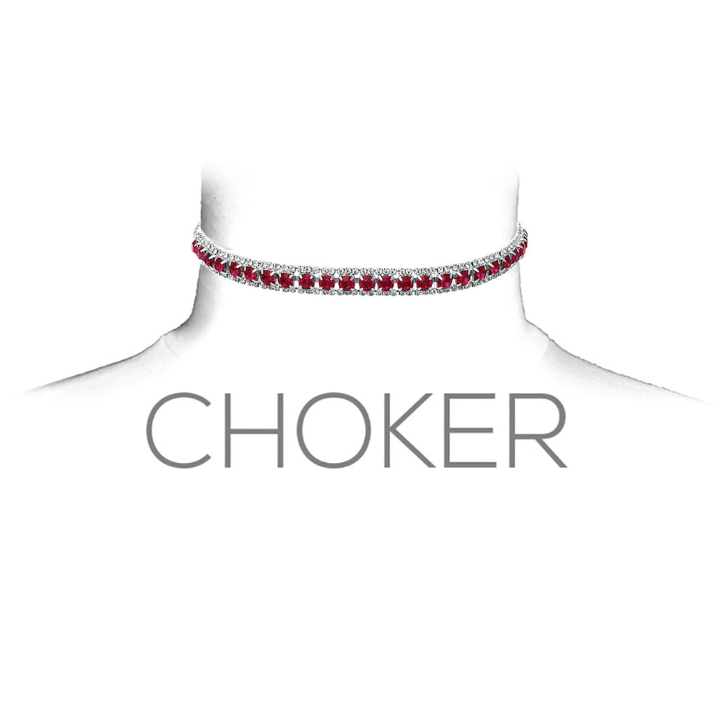 Elegant Crystal Statement Choker Necklace (Dark Pink)