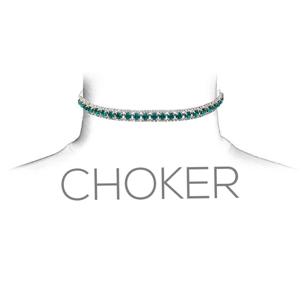 Triple Row Crystal Statement Choker Necklace (Green)