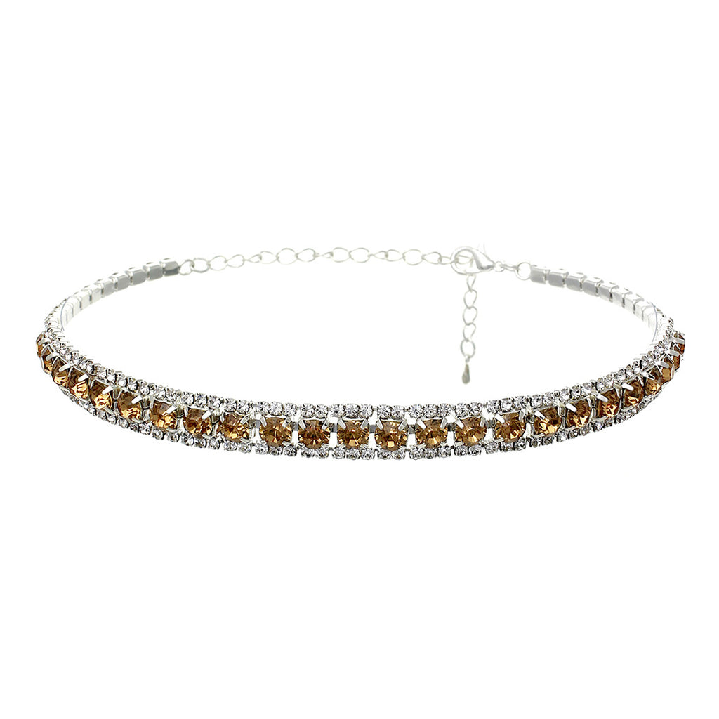 Elegant Crystal Statement Choker Necklace (Gold)