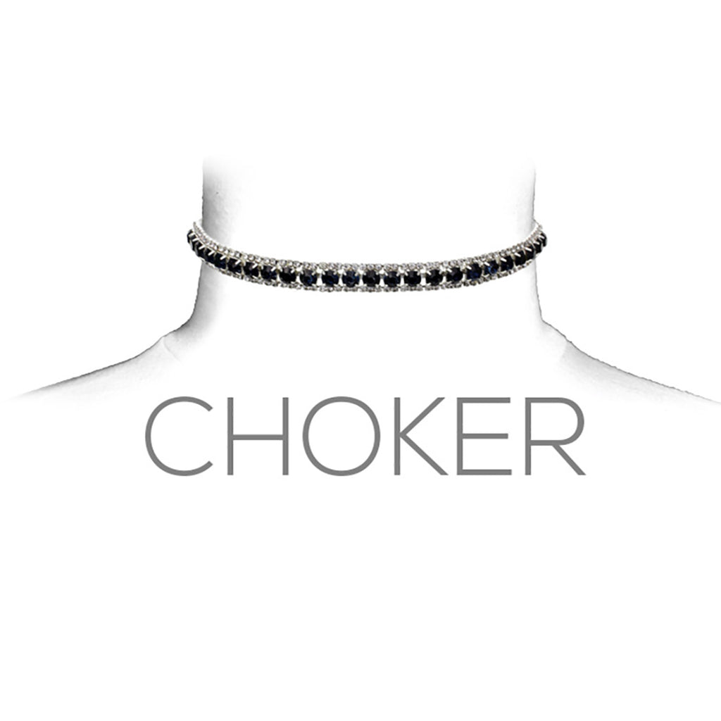 "Elegant Crystal Statement Choker Necklace Dark Blue, 11"" with 3.5"" Extender"