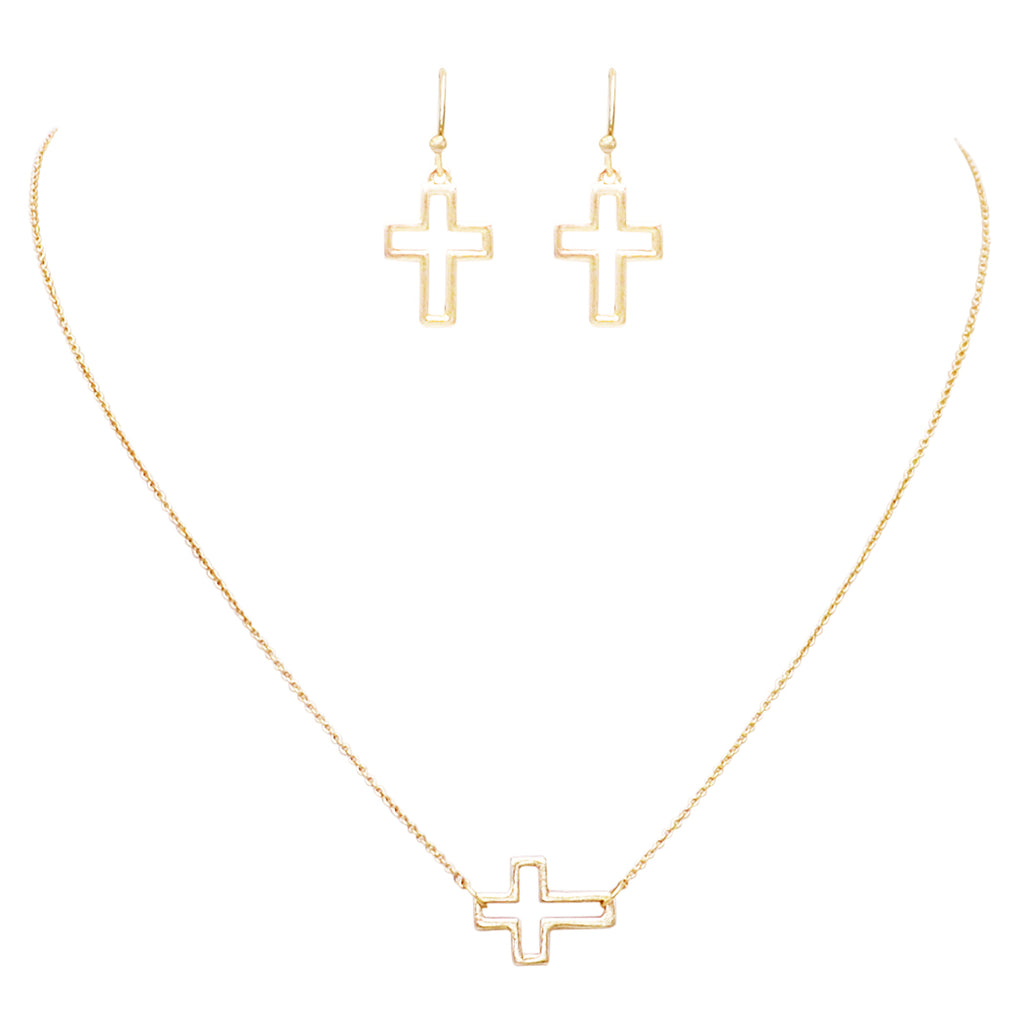 Religious Cross Necklace and Matching Earring Jewelry Gift Set (Gold tone)