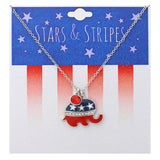 Long Patriotic Red White and Blue Republican USA Political Party American Flag Pendant Necklace