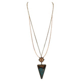 Turquoise Wood Triangle Pendant Extra Long Adjustable Statement Necklace
