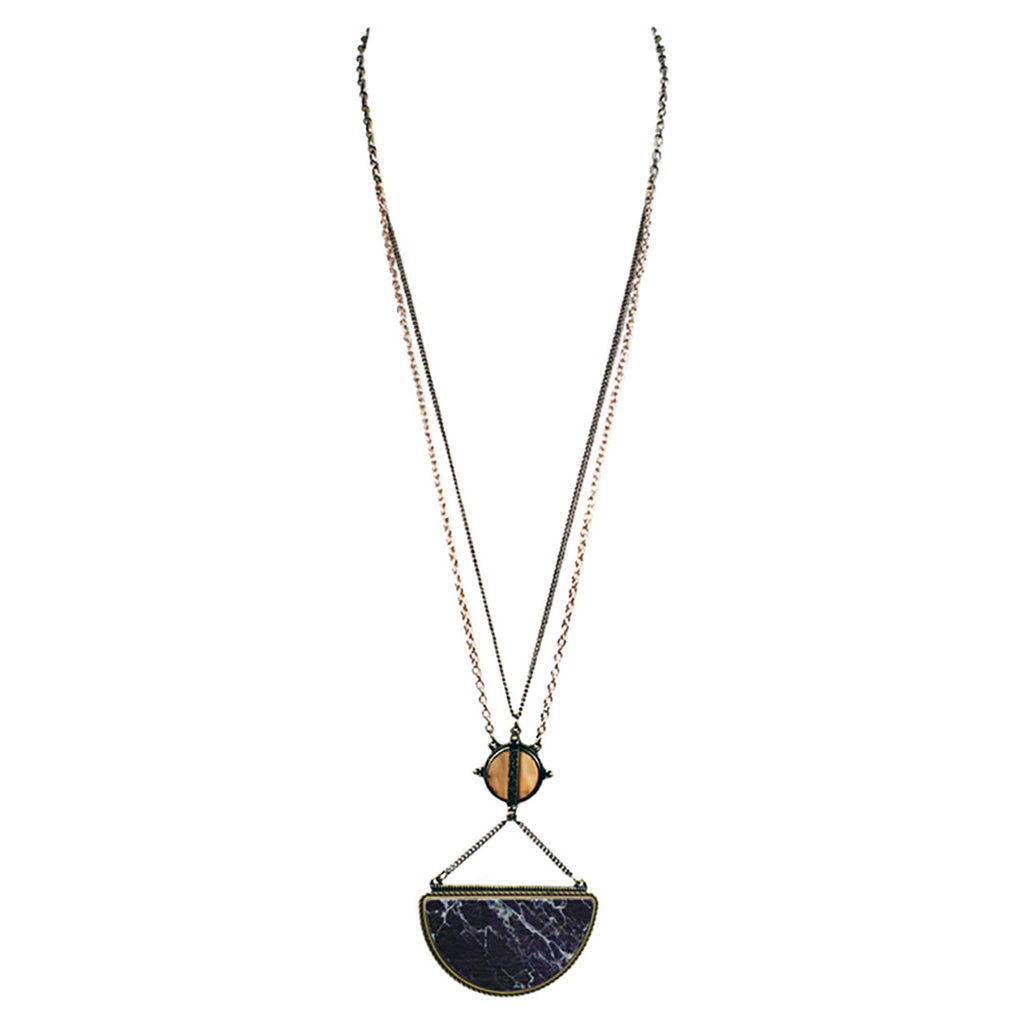 Contemporary Wood Pendant Extra Long Statement Necklace (Black)