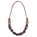 Multi Strand Braided Wooden Bead Statement Necklace