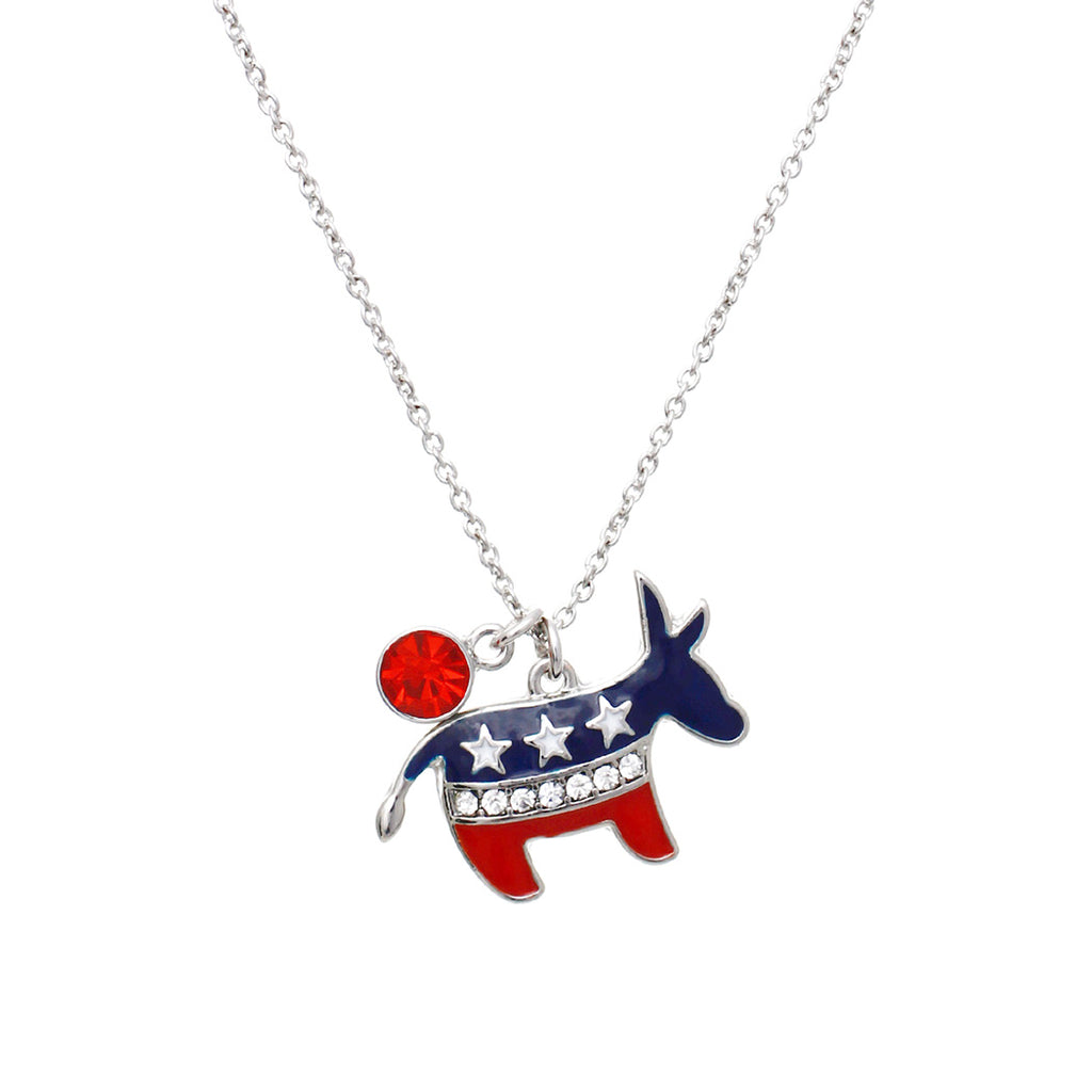 Long Patriotic USA Red White and Blue Democrat Political Party American Flag Charm Pendant Necklace
