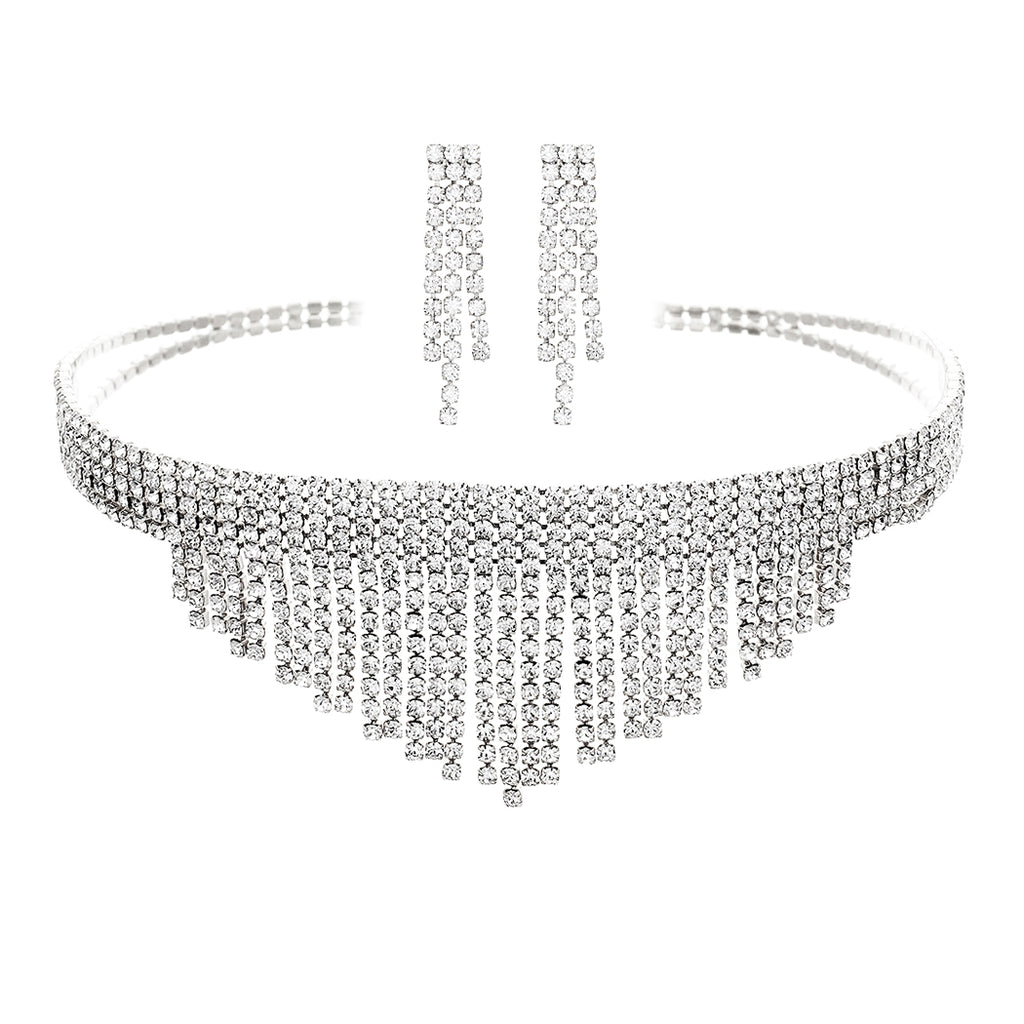 Crystal Fringe Choker Statement Necklace Jewelry Set (Silver)