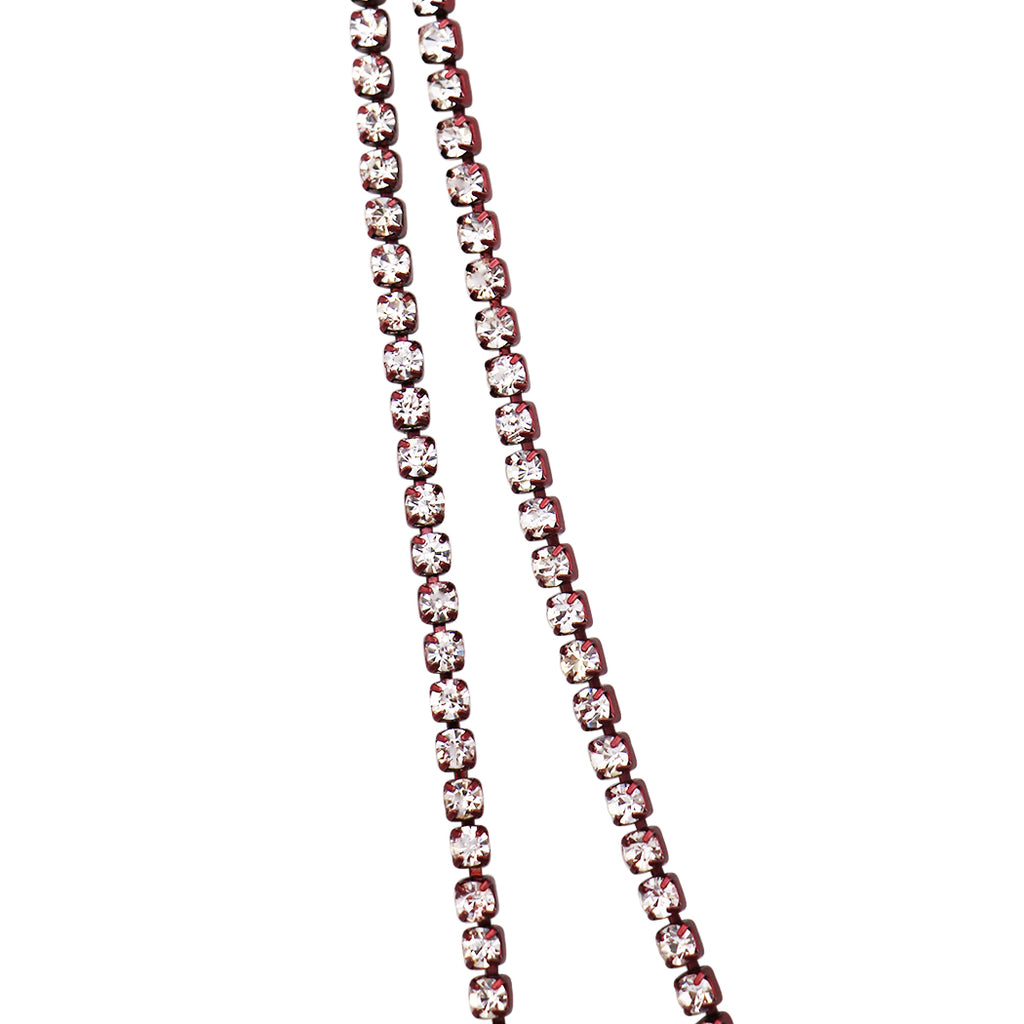 "60"" Crystal Rhinestone Strand Long Necklace (Burgundy)"