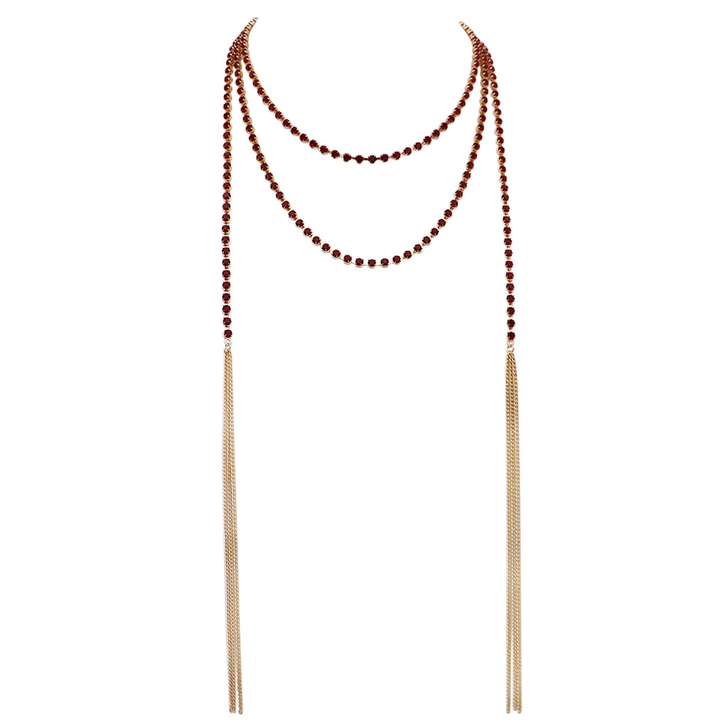 "74"" Rhinestone Strand Wrap Style Statement Necklace With Tassels (Red)"