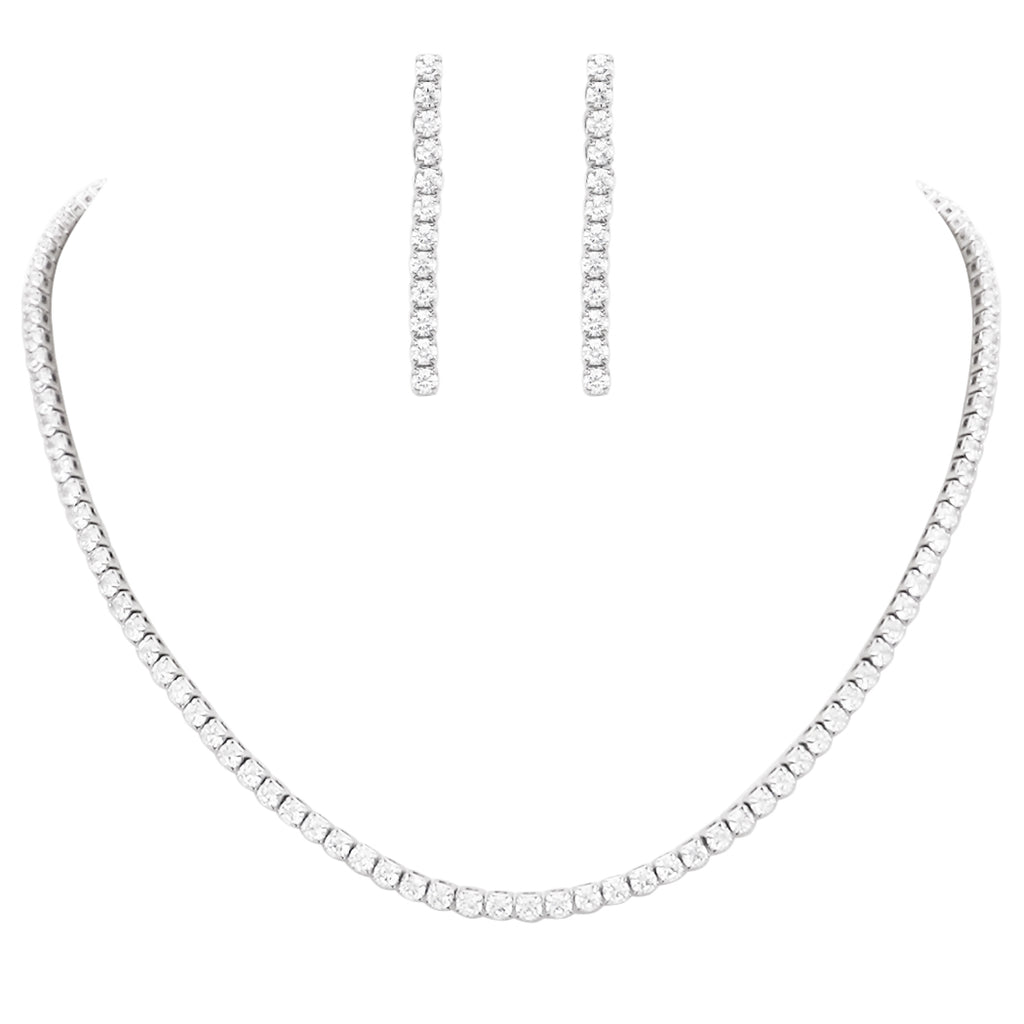 Stunning Cubic Zirconia Simple 3mm Strand Necklace and Hypoallergenic Earrings Set