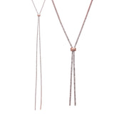 Elegant Glass Rhinestone Bolo Style Adjustable Necklace (Rose Gold/Clear)
