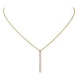 Cubic Zirconia Simple Vertical Bar Pendant Necklace (Gold Tone)