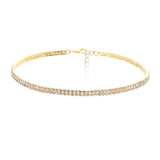Double Row Crystal Statement Choker Necklace (Gold)