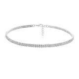 Double Row Crystal Statement Choker Necklace (Silver)