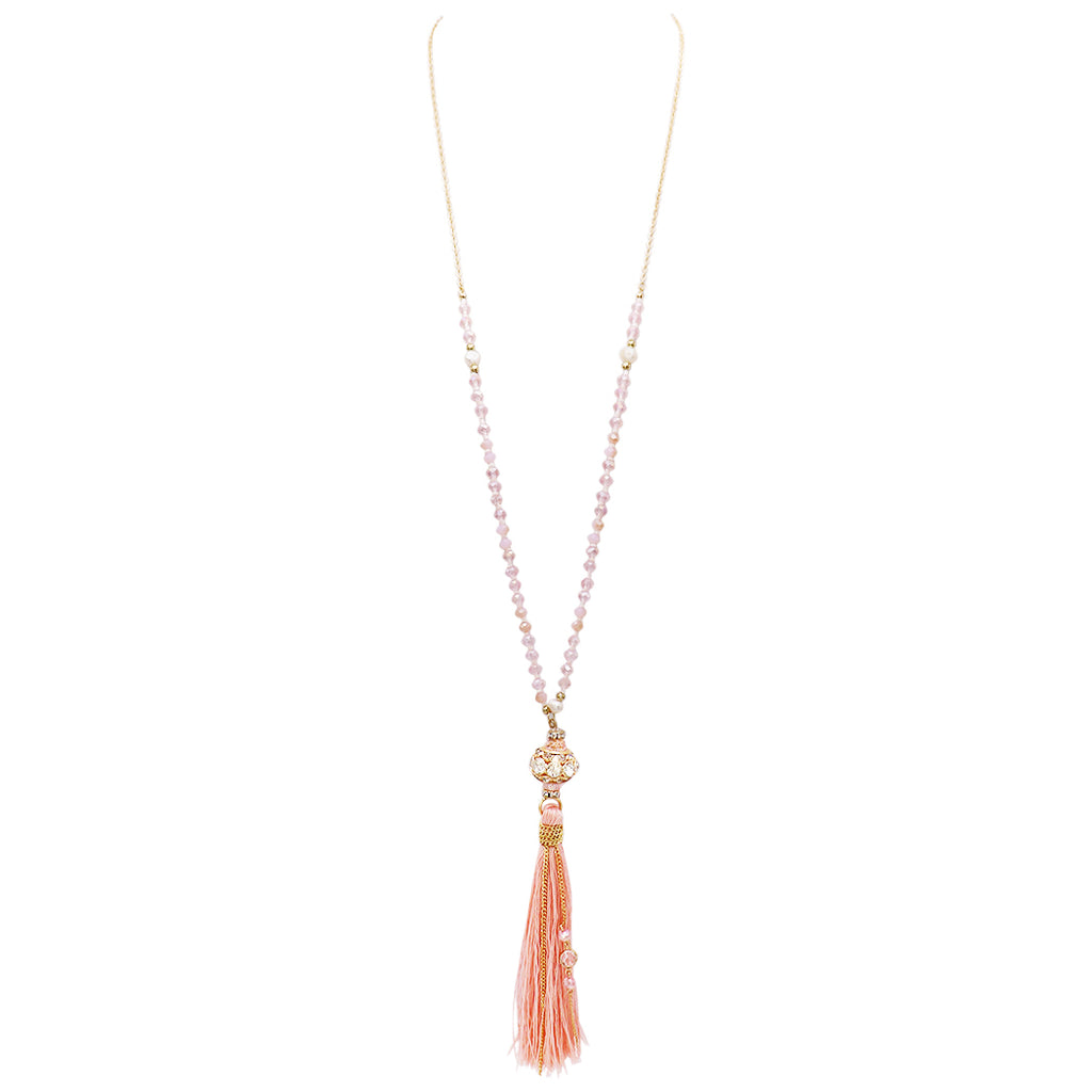 Elegant Glass Bead and Tassel Necklace (Light Pink)