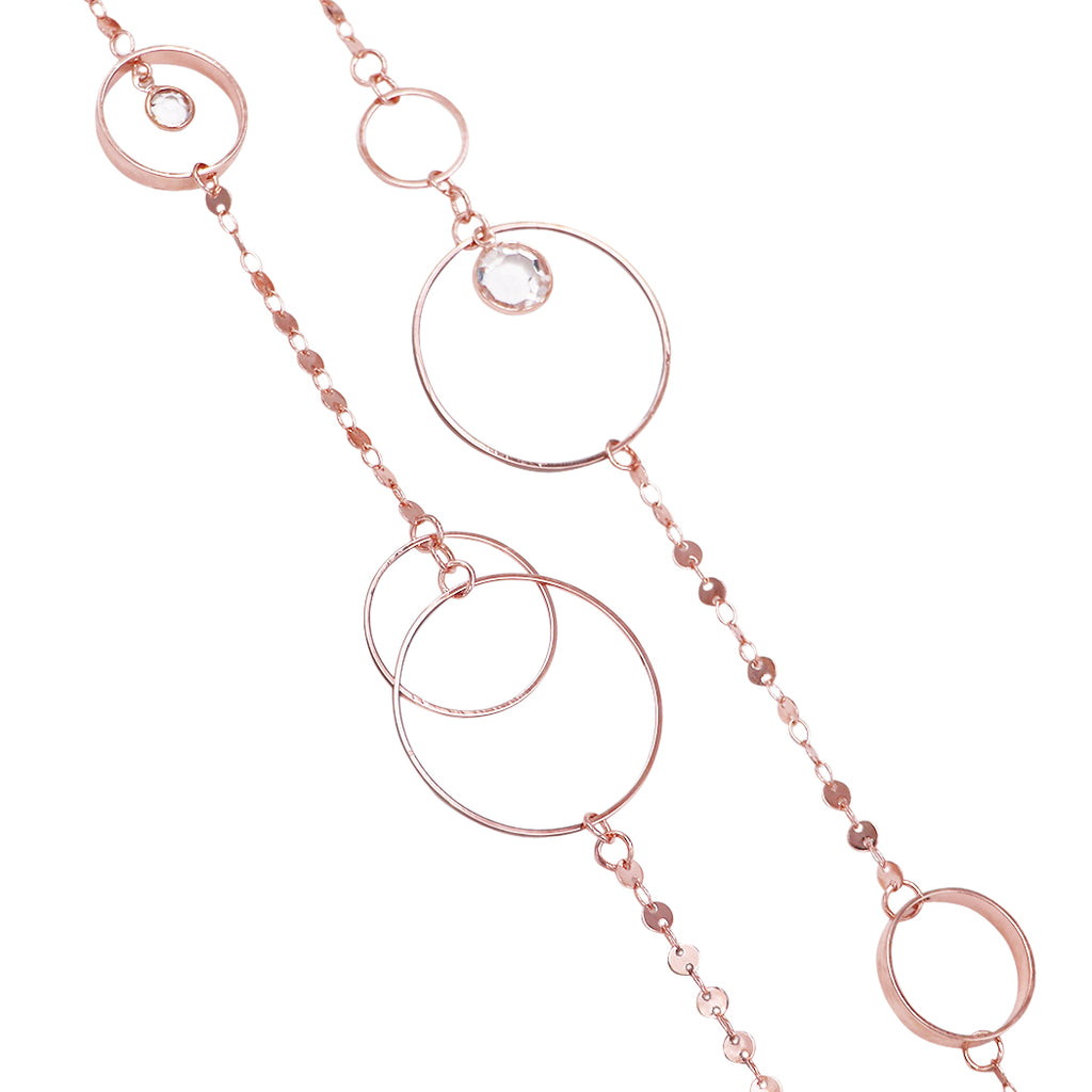Double Link and Metal Disc with Crystal Dangles Necklace