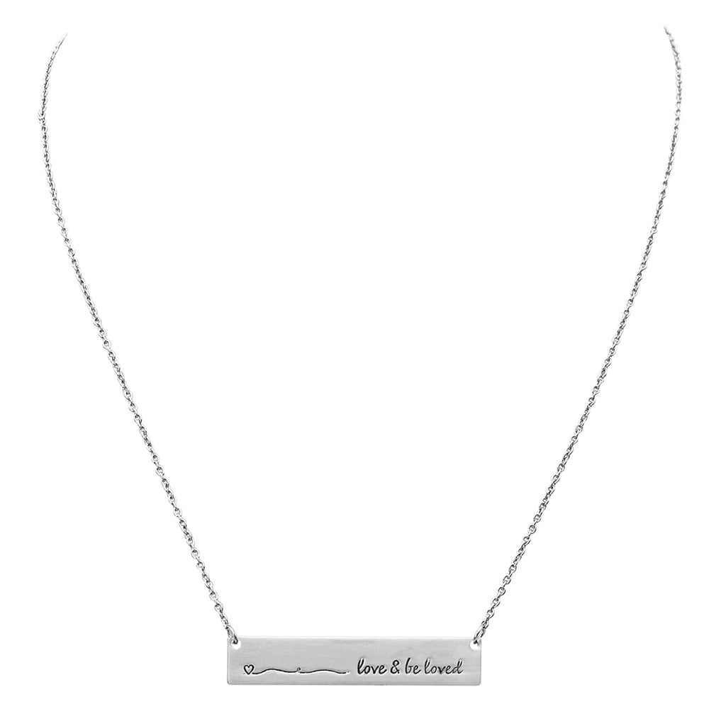 "Love and Be Loved Bar Pendant Necklace,16"" with 3"" Extender"