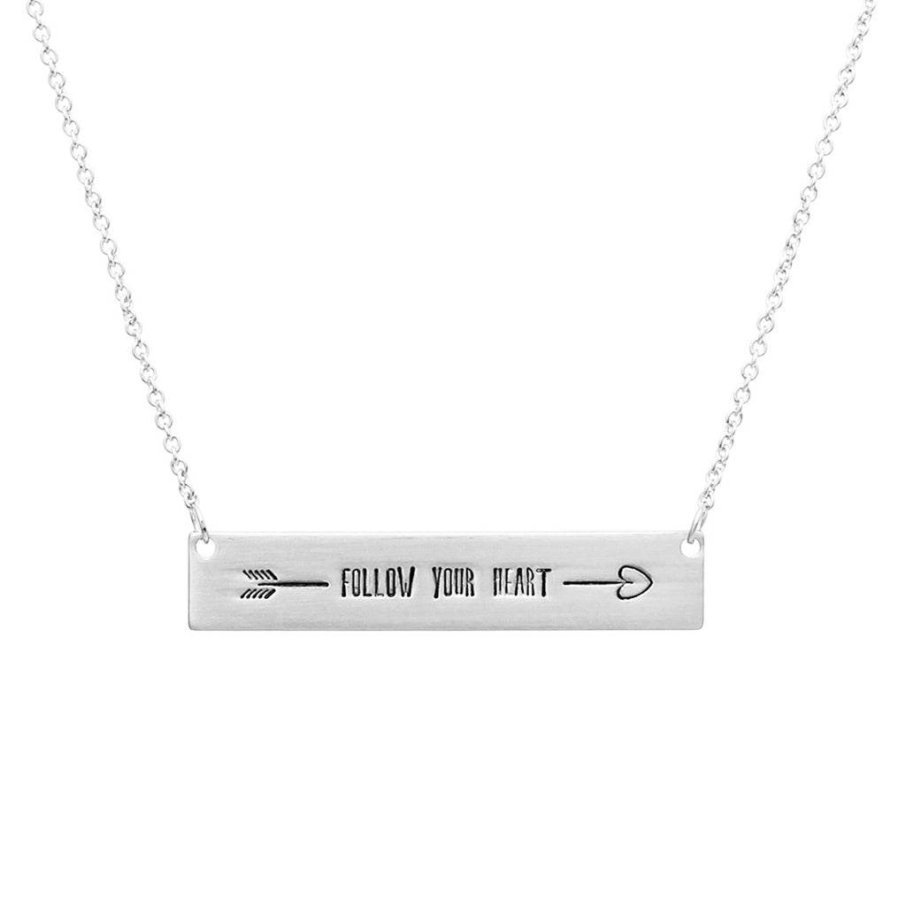 Follow Your Heart Bar Pendant Necklace