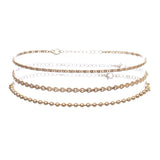 Chain Choker Necklaces Set of 3 (Gold Tone)