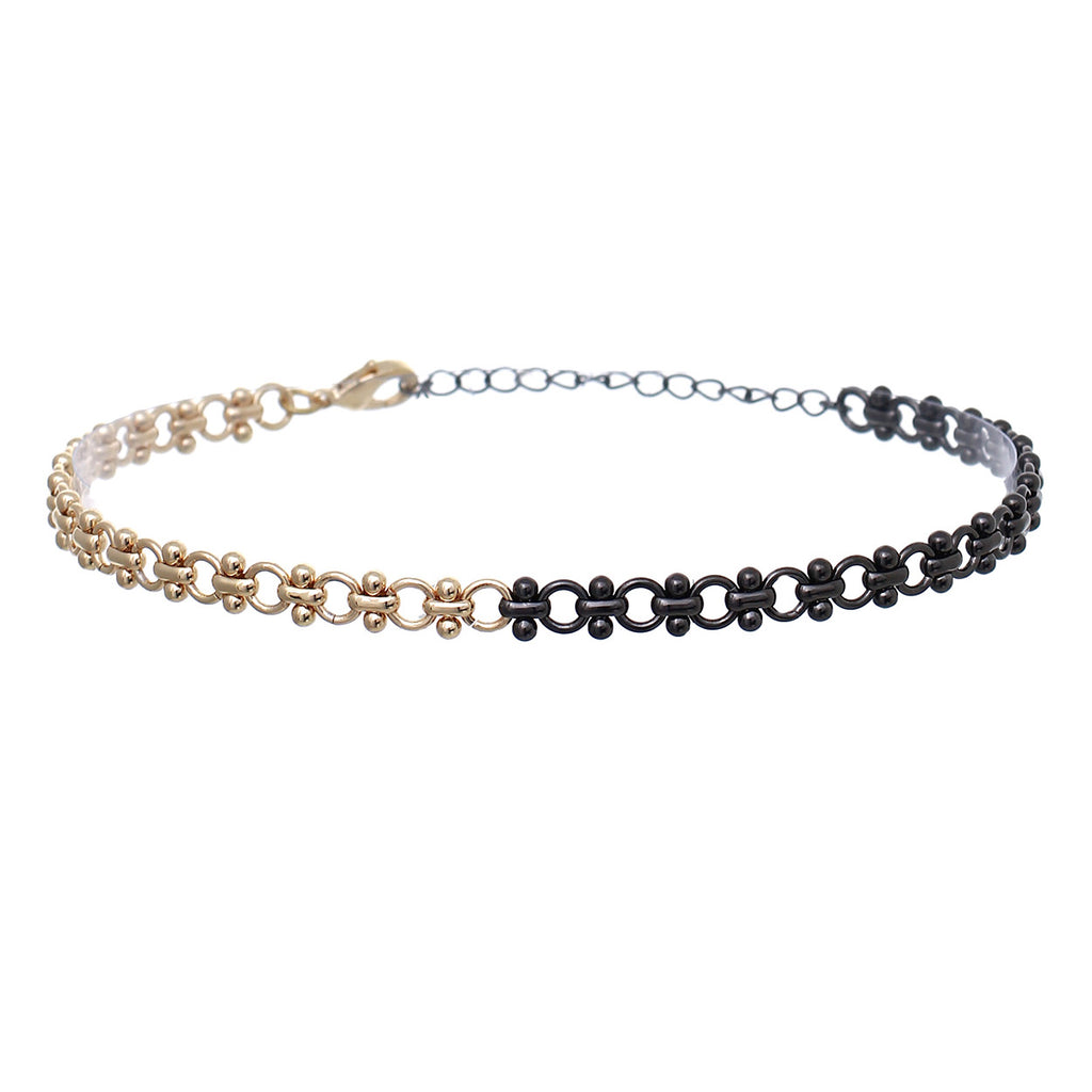 Two Tone Chain Choker Necklace (Gold/Hematite)