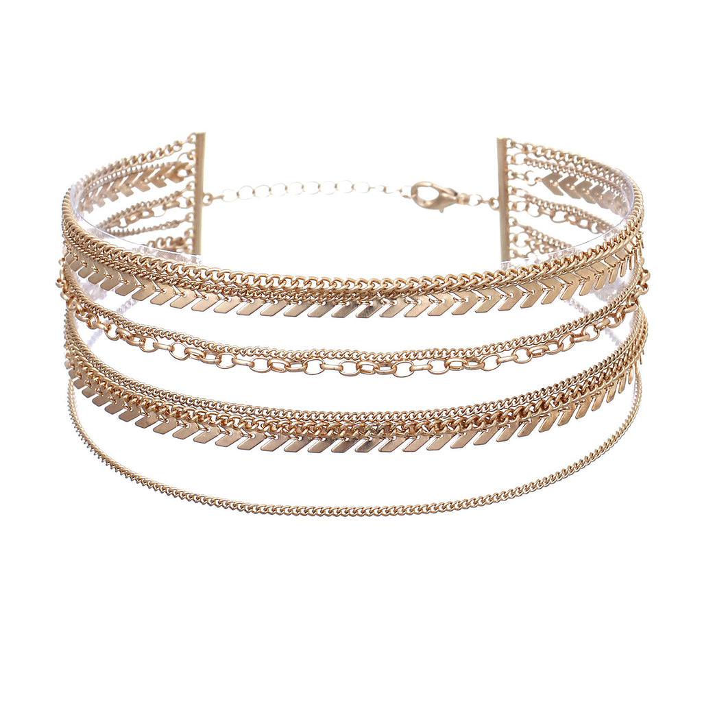 Multi-Chain Statement Choker Necklace (Gold)