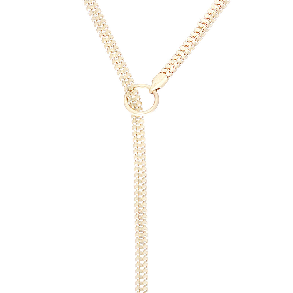 Adjustable Y Necklace with Crystal Detail (Gold)