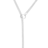 Adjustable Y Necklace with Crystal Detail (Silver)