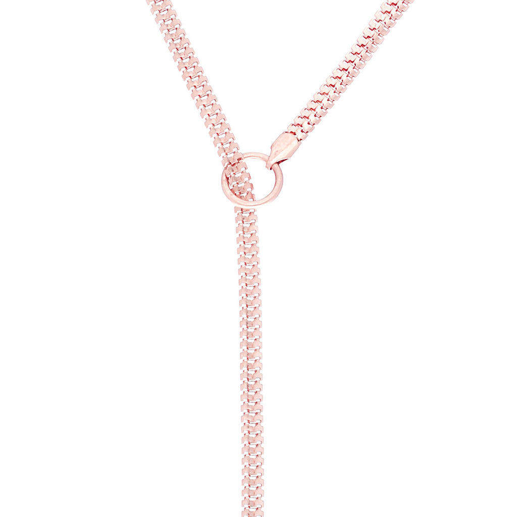 Extra Long Rose Gold Adjustable Y Necklace with Crystal Detail 32""