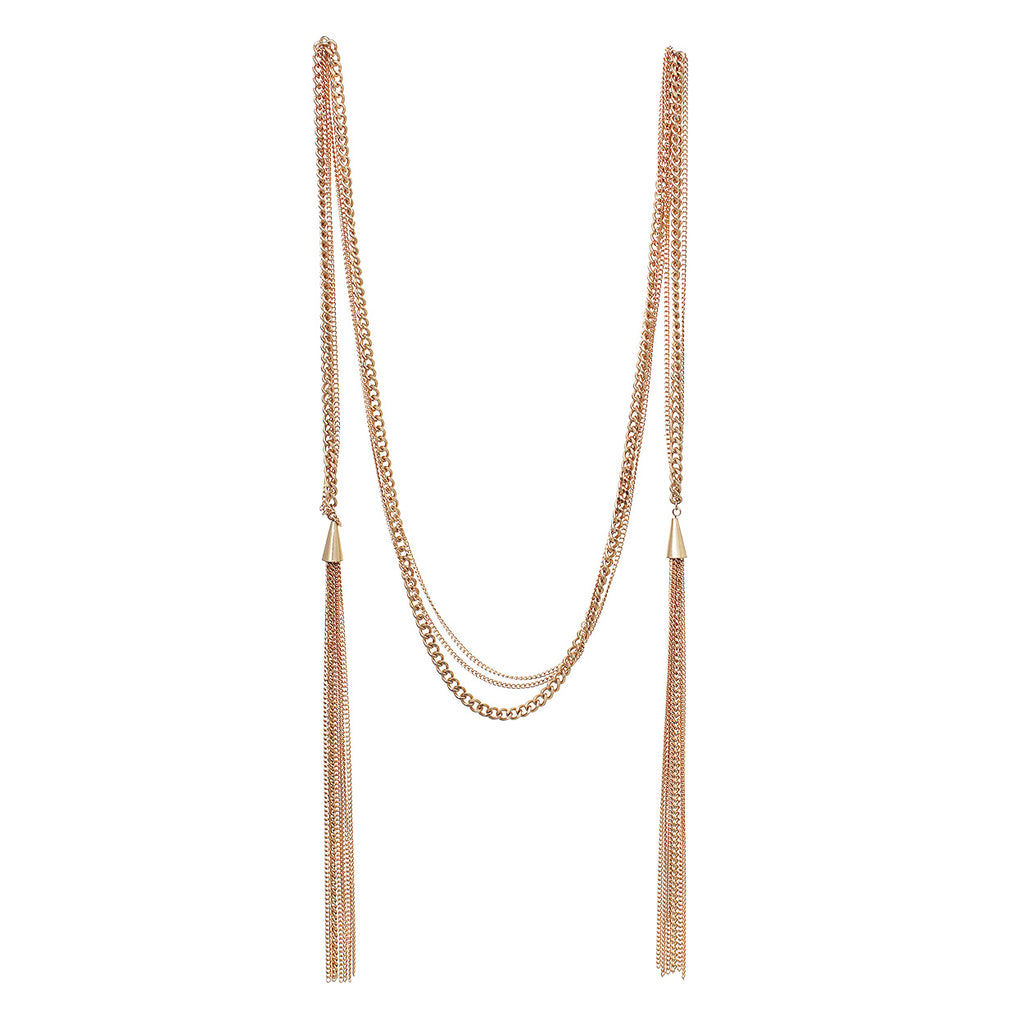 "36"" Multi Chain Wrap Style Statement Necklace with Tassels (Gold)"