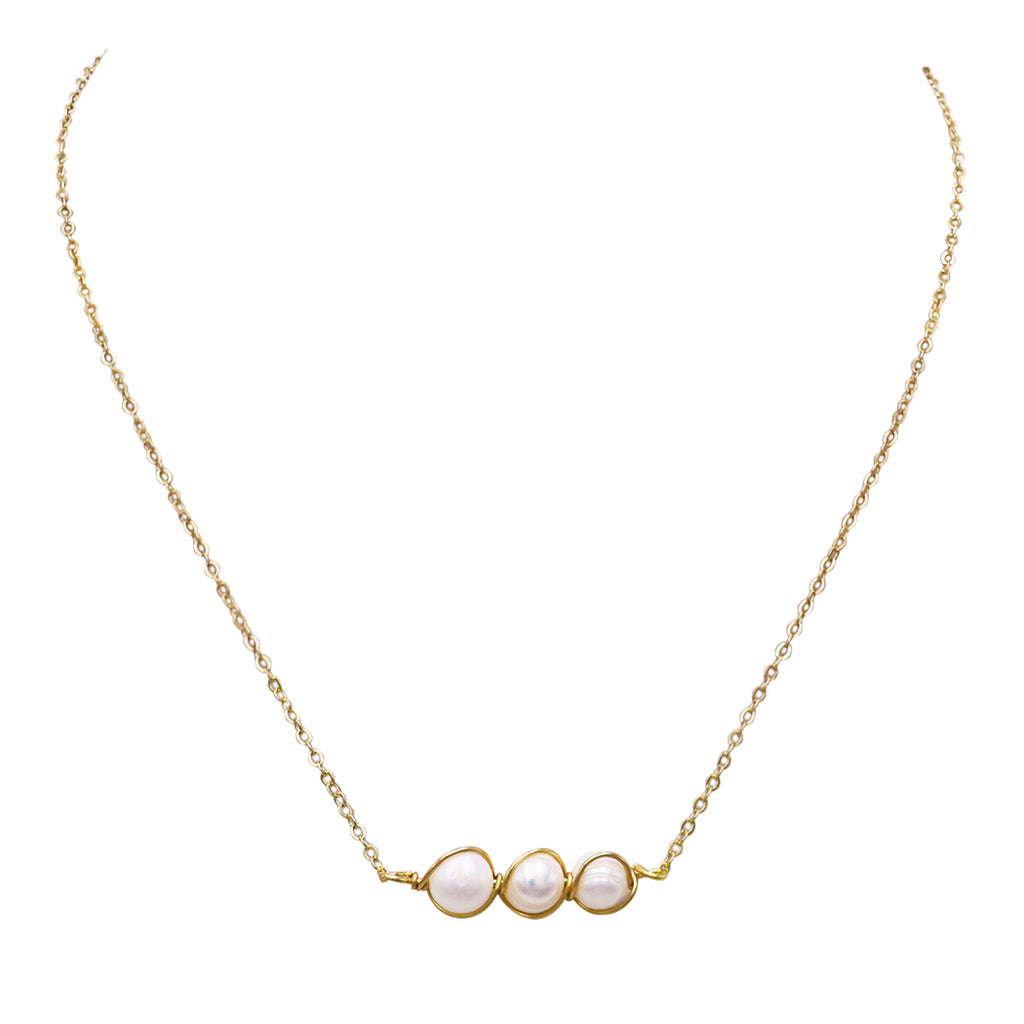 "Horizontal Petite Wire Wrapped Faux Pearl Pendant Necklace,15"" with 3"" Extender"