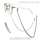Crystal Rhinestone Strap Eyeglass Holder (Hematite)