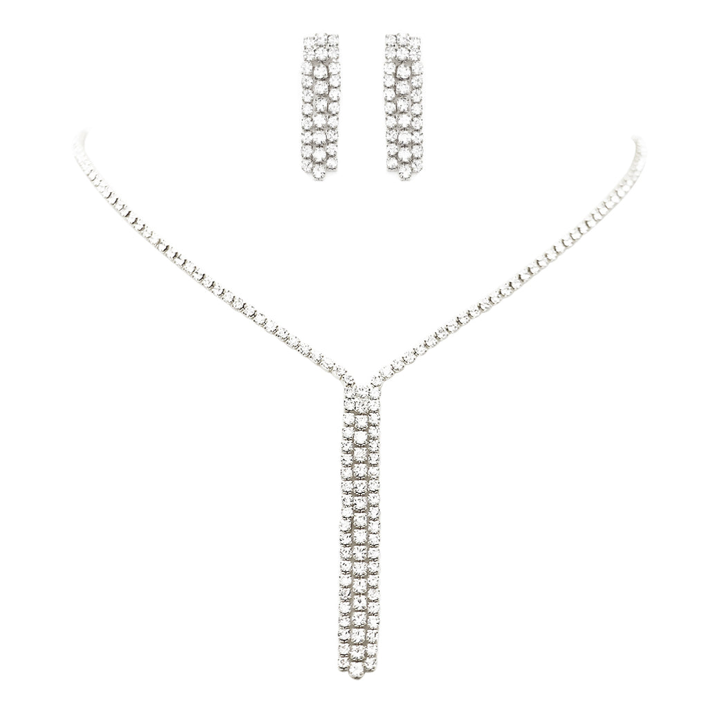 Rhinestone Fringe Dangle Necklace and Earrings Set (Silver Tone)