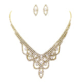 Draped Rhinestone Necklace and Earrings Set (Gold Tone)