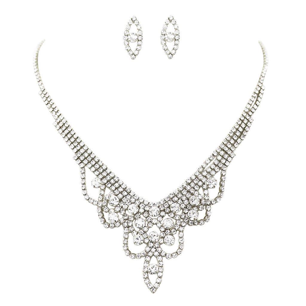 Draped Pendant Rhinestone Necklace and Earrings Jewelry Gift Set (Silver Tone)