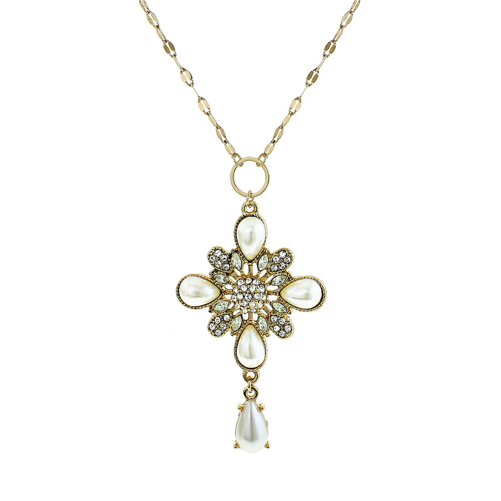 Decorative Faux Pearl and Crystal Teardrop Cross Pendant Necklace
