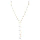 Crystal and Faux Pearl Teardrop Y Necklace