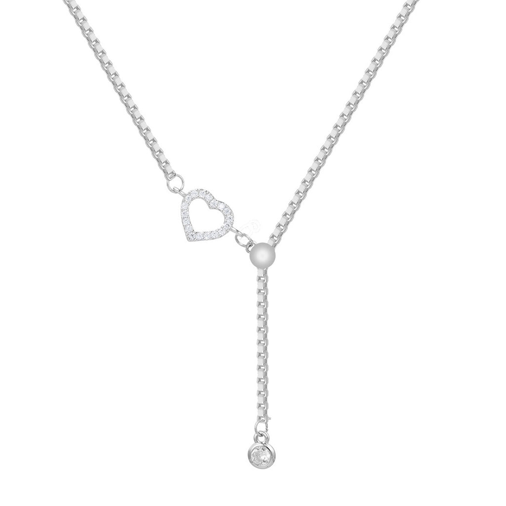 "Adjustable Silver Tone Y Necklace with Crystal Rhinestone Heart Detail 18"" with 3.5""Extender"
