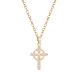 Religious Gift Cubic Zirconia Cross Pendant Necklace (Gold Tone)