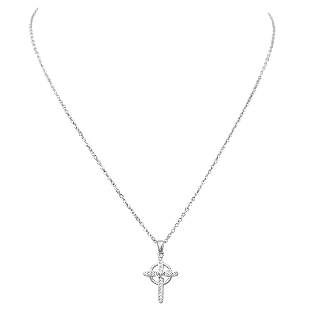 Religious Gift Cubic Zirconia Cross Pendant Necklace (Silver Tone)