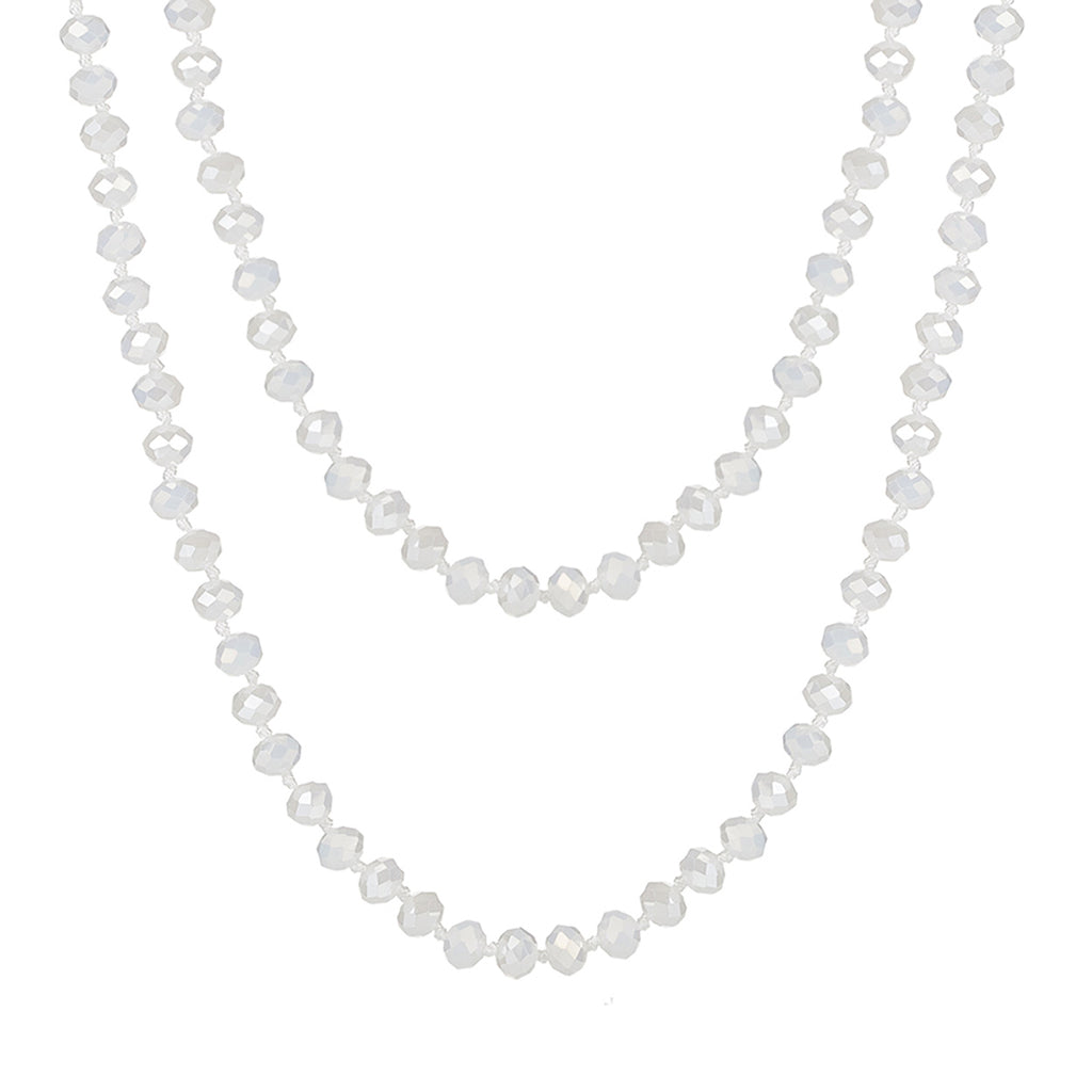 Faceted Glass Crystal Beaded Long Strand Necklace and Stretch Bracelet Set (White)