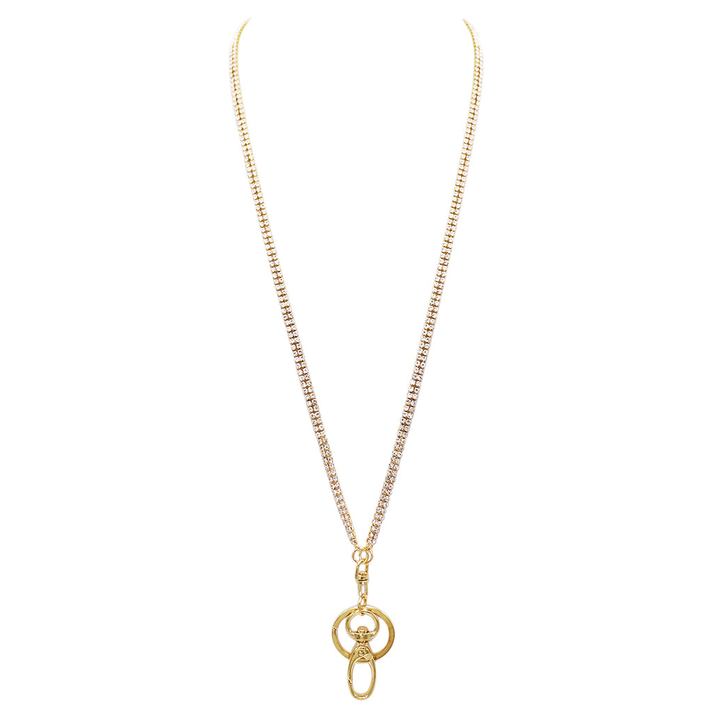 9a088b6e429 Crystal ID Badge Lanyard Necklace Key and Eyeglass Holder (Gold) –  Rosemarie Collections