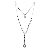 Beaded 2-Strand St Benedict Cross Pendant Necklace (Black/Silver)