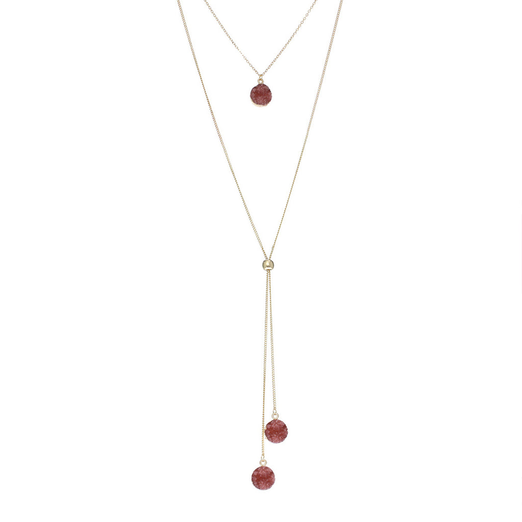 Double Chain Round Faux Druzy Stone Pendant Necklace (Dusty Rose)