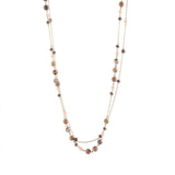 Double Chain with Glass Bead and Natural Stone Necklace