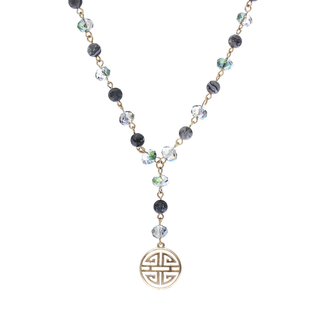 Four Blessings Good Luck Necklace with Glass Bead and Natural Stone (Smoke)