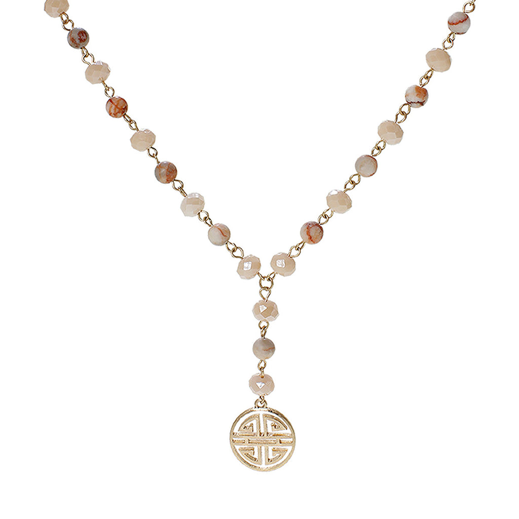 Four Blessings Good Luck Necklace with Glass Bead and Natural Stone (Light Pink)