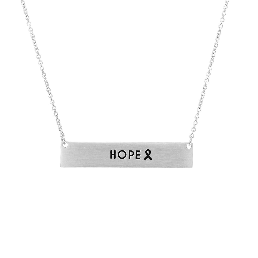 "Pink Ribbon Bar Necklace ""Hope"" (Silver)"