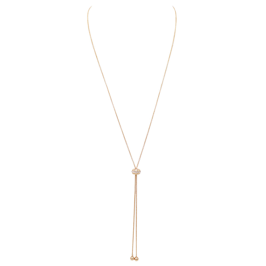 Dainty Bolo Style Adjustable Necklace with Crystal Accent (Gold)