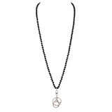 Stunning Faceted Glass Crystal Bead ID Badge Lanyard Necklace Mask Key and Eyeglass Holder (Black/Silver Tone)