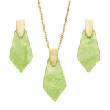 Geometric Diamond Shaped Lucite Statement Pendant Necklace and Hypo Allergenic Earring Set (Green Necklace/Earring Set)